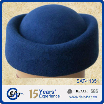 100% wool felt hat /blue stewardess hat / wool felt stewardess hat, blue