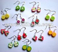 Polymer Clay FRUIT Shape Hook Earrings polymere boucle d'oreilles Fruits