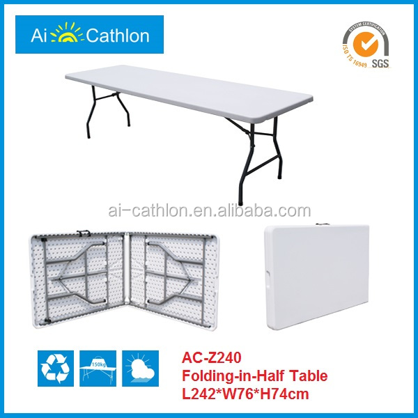 8FT Folding in Half Table Plastic Table Blow Moulded Long Table
