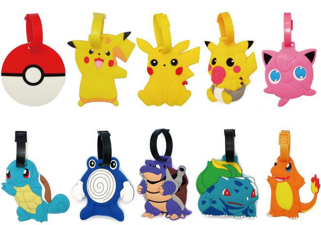 2016 Newest Pokemon Go Anime Luggage Tag High Quality PVC Material Pokeball Address Tag Popular 9 Patterns Available