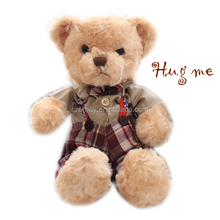 6 inch small brown Bear wear overalls stuffed plush toy soft for baby
