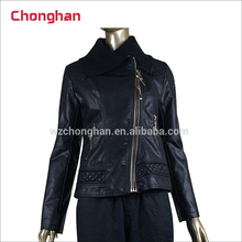 Chonghan China Supplier Wholesale Fashion Designer Winter Leather Jackets For Ladies