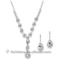 Hot sell wedding /party silver earring necklace fashion zircon jewelry set
