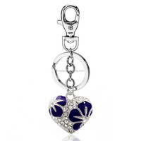 Latest key ring design fashion zinc alloy metal custom keychain floating love heart with flower key chain wholesale