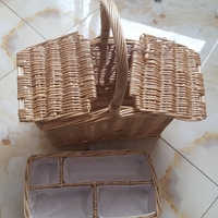 Woven Willow Picnic Basket For Two Person