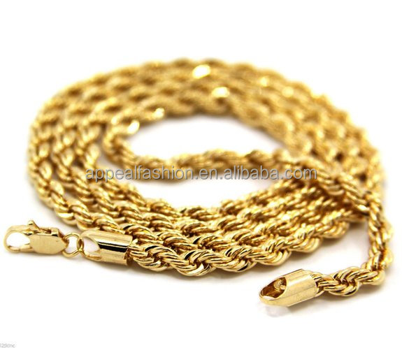 "Hip Hop Rapper's 3mm 30"" Rope Chain Mens 14K Yellow Gold Filled Rope Chain <strong>Necklace</strong>"