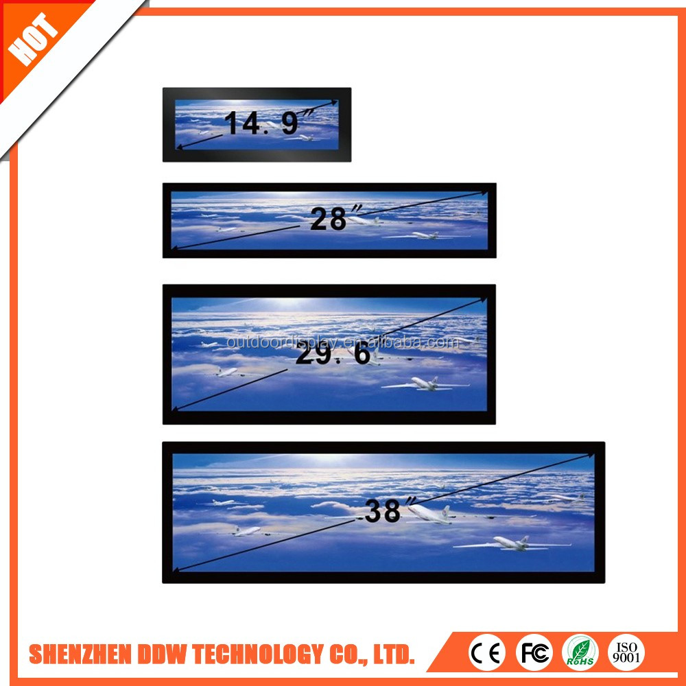 Newest top quality 1920x405 showcase lcd Stretched digital screens ip65 transparent advertising display