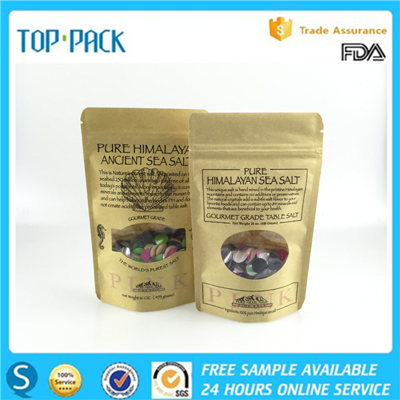 Laminated custom printing brown kraft paper stand up zipper bag with clear window for salt packaging