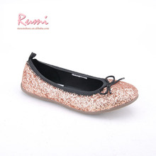 Wholesale roll up girls canvas ballerina glitter upper toddle flat shoes