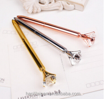Rose gold crystal metal personalized ballpoint pens for gift advertising ball pen Big diamond tester pen