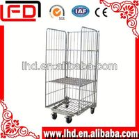 Industrial Warehouse Roll Metal Storage Cage for transport