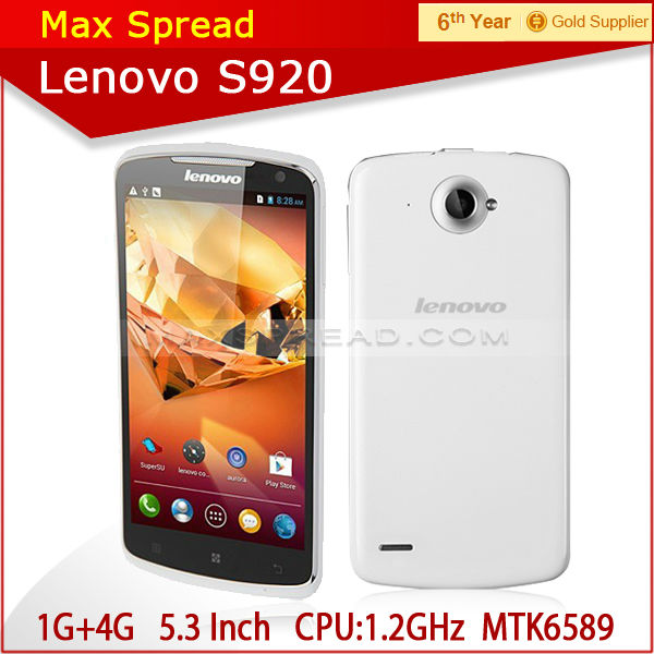 100% original 5.3 inch screen 1280*720 Lenovo S920 MTK6589 1.2GHz quad core-CPU 1GB ram 4GB rom GPS 3G brand android phone