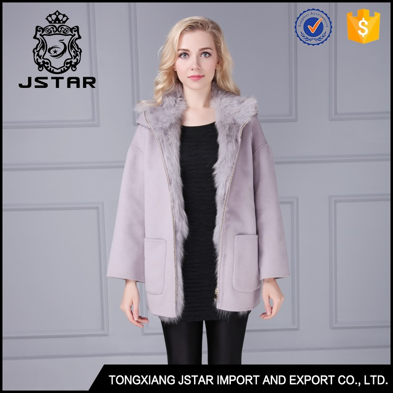 2016 Korean style new arrival grey 100% cashmere wool coat