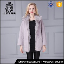 Korean style new arrival grey 100% cashmere wool coat