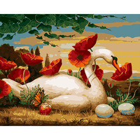 CHENISTORY DZ1302 Paint By Numbers Pictures White Swan Oil No Frame