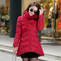 C73007A Women winter coats women cotton large fur collar hood thick coat