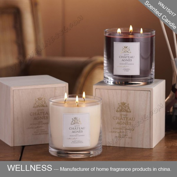 wholesale wooden gift box scented soy wax candle