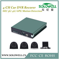 Factory Directly 4 Channel Mobile Car DVR Security System with 4 Mini Cameras
