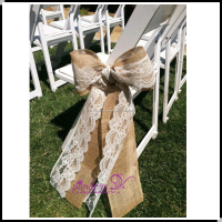 Fancy burlap chair sashes with lace for weddings