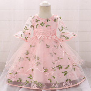 baby girl party dress embroidered flared sleeve princess dress