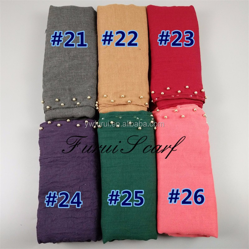 2017 New Double Pearl Shawls Hjiab Spring Summer Muslim Fashion Long Scarves Plain Women Scarf