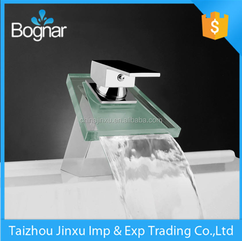 beautful led light bathroom water wash sink mixer waterfall faucet