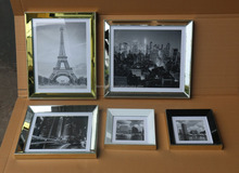 Beautiful mirror photo frame set with 5 color of mirror stick on PS moulding