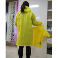 cheap yellow adult and children durable EVA raincoat
