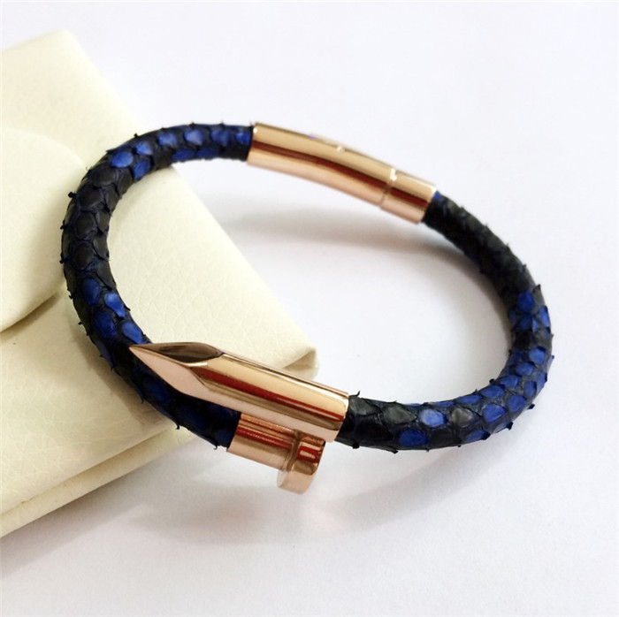 Custom Real Python Leather Gold Rose Gold Nail Bracelet_8