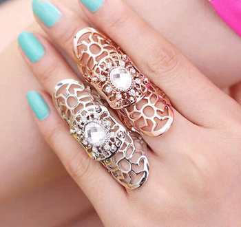 Celebrity Chic Rhinestone Full Finger Long Adjustable Knuckle Armor Rings