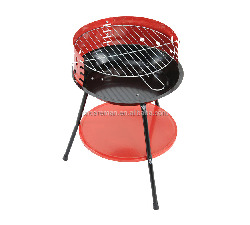 "14"" 3 Legged Tripod Simple/Basic Round Iron Charcoal BBQ/Barbecue Grill with Wind Protection Grate Area and Seasoning Rack/Shelf"