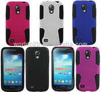 Fashion 2 in 1 Rubber Mesh Hard +Silicone Case For Samsung Galaxy S4 mini i9190,Mesh PC & Silicon combo design