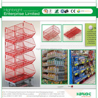 3 Layers Folding Steel Wire Mesh Display Storage Stacking Cage Container