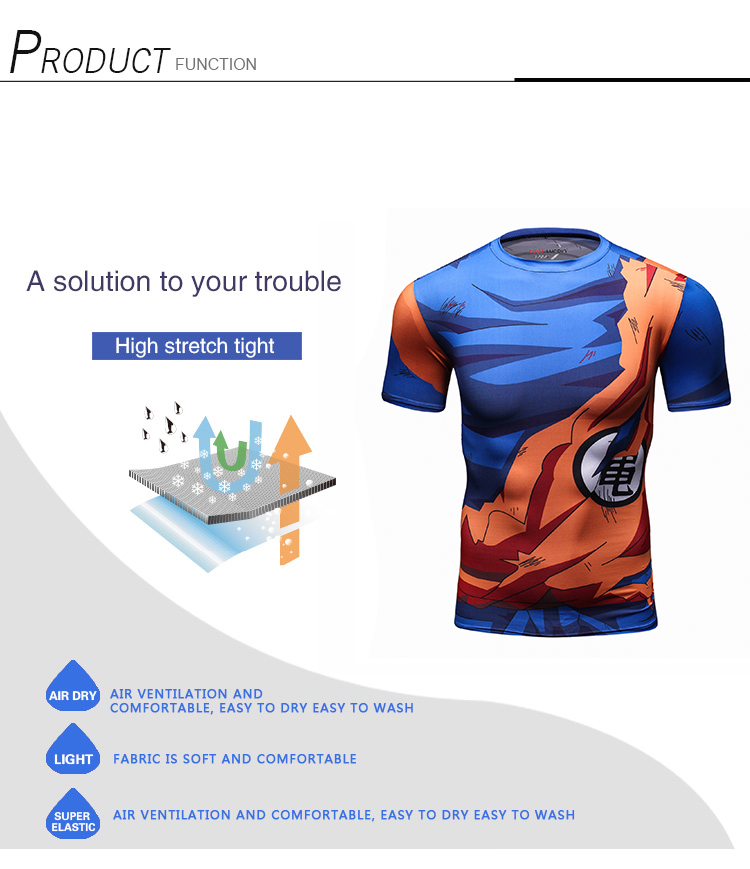 Men Gym Fitness Camisas 3D Printing Super Saiyan Son Goku Vegeta T-shirts