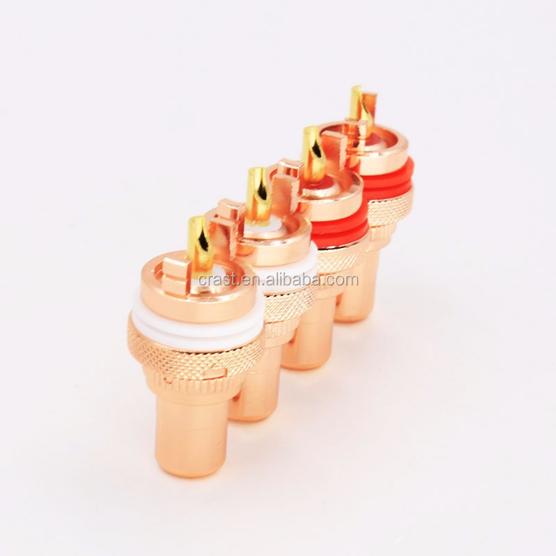 Gold Plated Red copper RCA Socket Phono Chassis Female HIFI AMP