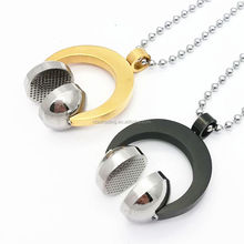Hip Punk Gold Color Titanium Stainless Steel Sport Headset Music Carnival Headphones Pendants Necklaces for Men Jewelry