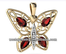 Jewellery brands 14k Yellow Gold Genuine Mixed Stones Butterfly Pendant