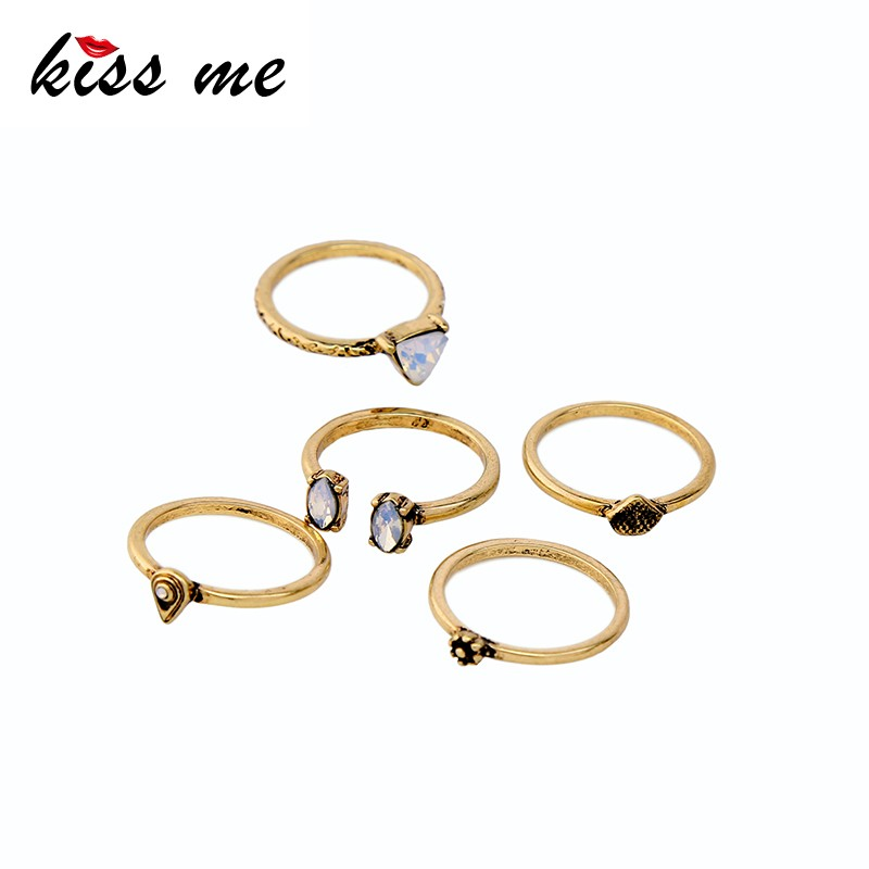 Wholesale Antique Gold Women Unusyal Costume Jewellery Rings Set