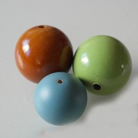 painted wood ball 10mm to 100mm well painted decoration ball