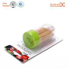 Low price bamboo toothpick with plastic toothpick holder