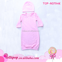 In Stock Pink Long Sleeve O-neck Jumper Baby Romper Baby Clothes Blank Dress Romper Full-lengthWholesale Unisex Solid Gown Suit