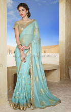 Indian Chiffon Party Function Wear Designer Saree-sky blue hot looking saree-2015 new fashion saree