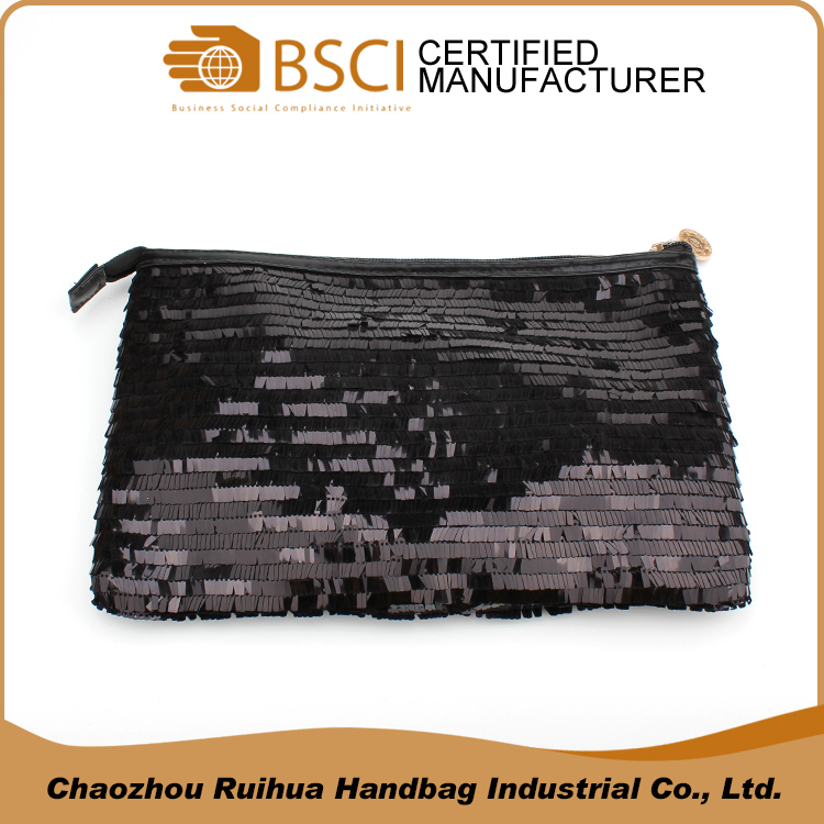 Black sequin women cosmetic makeup bag glitter clutch evening bag