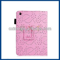 Sequins Floral Print Faux Leather Flip Case with Stand for iPad Mini (Pink)