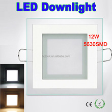 Super Bright 12W 5630SMD Square glass LED Down Light with driver