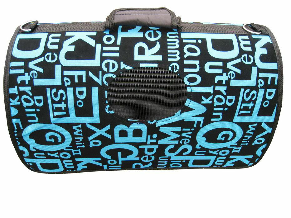 The Art Letters Pet Dog Cat Fsahion Carrier with Shoulder Strape for Home and Travel (Blue and pink)