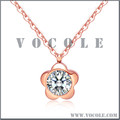 Big Crystal Diamond Solitaire Flower Pendant Stainless Steel Chain Necklace