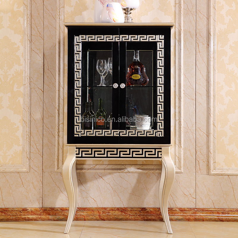 Luxury Italy Double Door Display Cabinet/European Elegant Decorative Wine Cabinet/ Retro Gilt Vitrine