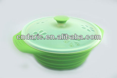 Plastic Silicone microwave steamer with cover,silicone box with cover