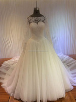 New Design Real Pictures Ball Gown Scoop Neck sexy See Through Back All Lace Applique Bottom Long Sleeve Wedding Dresses A147